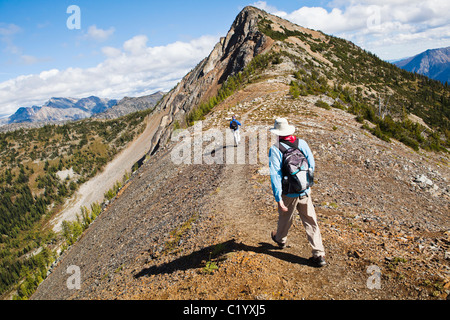 Two men hiking on the Pacific Crest Trail near Harts Pass, North Cascades, Washington, USA. - Stock Photo