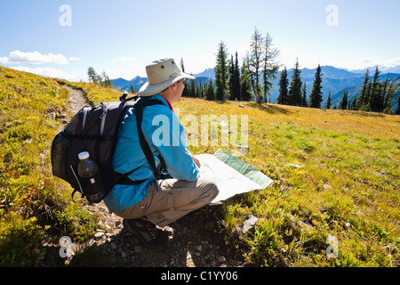 A hiker on the Pacific Crest Trail checking his map. Washington Cascades, USA. - Stock Photo
