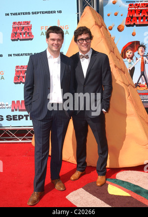 Chris Miller and Phil Lord, directors Premiere of 'Cloudy with a chance of Meat Balls' held at the Mann Village - Stock Photo