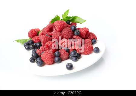 fresh berries on the plate - Stock Photo