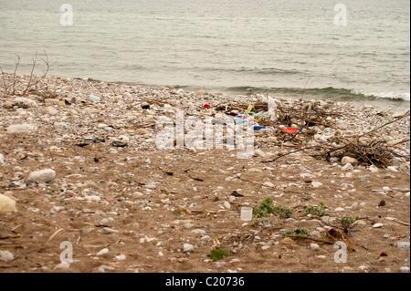 Dirty beach in Bar city, Montenegro - Stock Photo