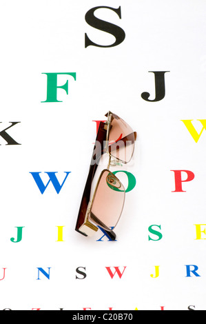 Optical glasses over the eye test table - Stock Photo