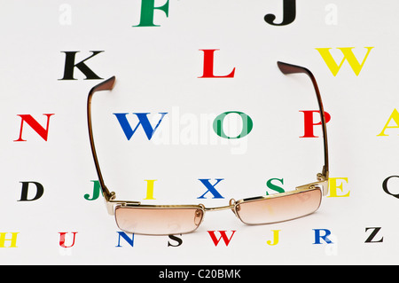 Opical glasses over the eye test table - Stock Photo