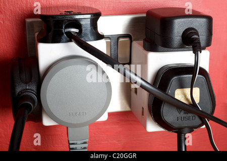 Electrical plugs and sockets, UK. - Stock Photo