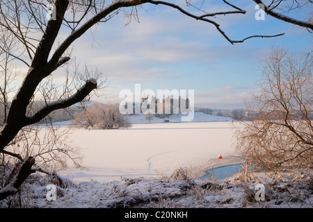 Looking across frozen Loch to Linlithgow Palace, Scotland,  2011 - Stock Photo