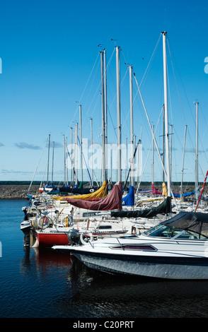 Sailboats moored in the Aylmer Marina, Gatineau Quebec. - Stock Photo
