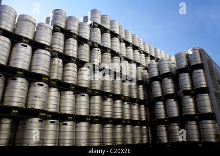 Stack of aluminium beer barrels, kegs, barrel, keg, stacks, aluminium, pile, quantity,  some, many, outside, outdoors, - Stock Photo