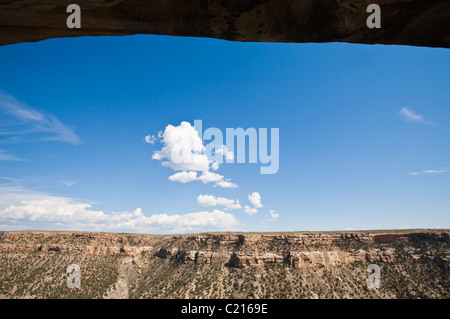 A view of the landscape looking out away from balcony House in Mesa verde National Park, Colorado, USA. - Stock Photo