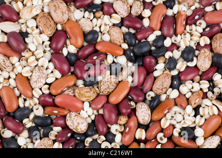 Mixed dried beans close up for background - Stock Photo