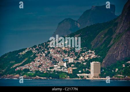Early morning at the Leblon Beach, Favela View, Rio de Janeiro, Brasil, South America - Stock Photo