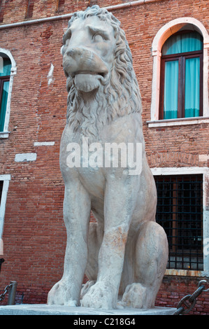 The Piraeus Lion statue on display at the Venetian Arsenal, Venice, Italy - Stock Photo