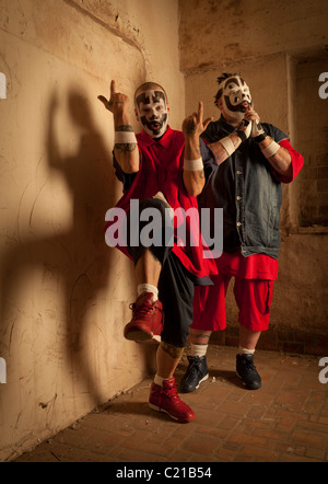 Violent J and Shaggy 2 Dope of Insane Clown Posse pose for pictures before a concert in Milwaukee, Wisconsin. - Stock Photo