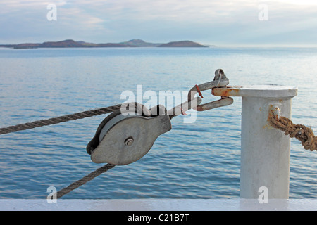 Lifeboat pulley block on the Kennacraig to Port Askaig ferry - Stock Photo