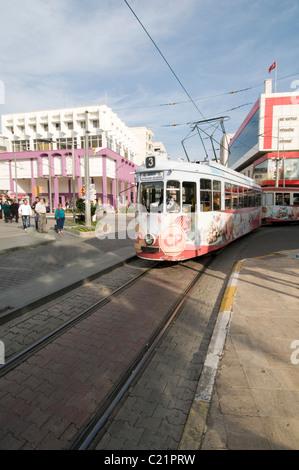 tram trams line line tramlines tramline in antayla turkey public transport turkish city cities - Stock Photo