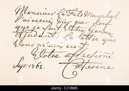 Empress Catherine II of Russia, known as Catherine the Great, 1729 - 1796. Hand writing sample. - Stock Photo