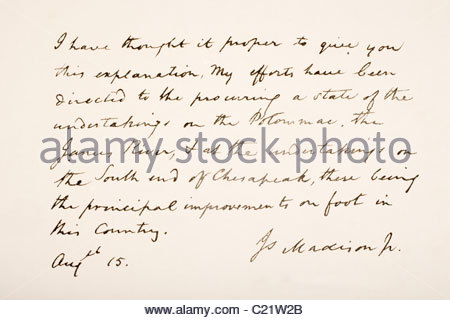 James Madison, 1751 - 1836. Fourth president of the United States of America. Hand writing sample. - Stock Photo