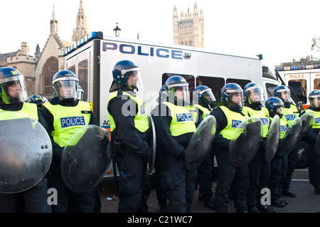 Line of Riot Police, Parliament Square, Student protest against University fees, London, 09/12/2010 - Stock Photo