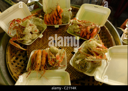 steamed crab and prawn in foam for take away, chatuchak weekend market, bangkok, thailand - Stock Photo