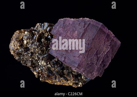 Fluorite (CaF2) (calcium fluoride) on Sphalerite (ZnS) (zinc sulfide) - Elmwood Mine - Smith County - Tennessee - Stock Photo
