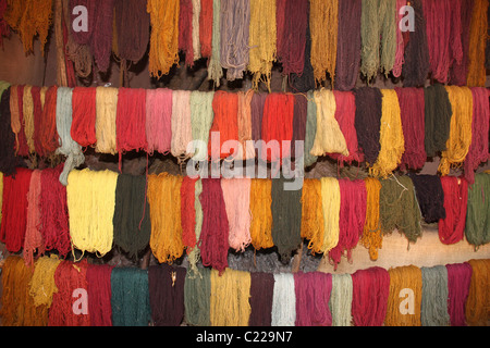 Multi-coloured yarn in Sacred Valley Peru - Stock Photo