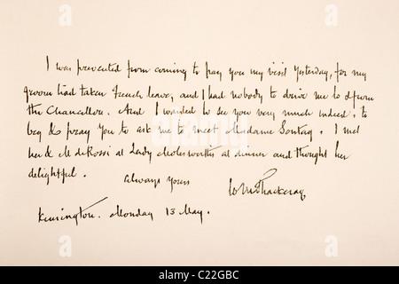 William Makepeace Thackeray, 1811 – 1863. English novelist Hand writing sample. - Stock Photo
