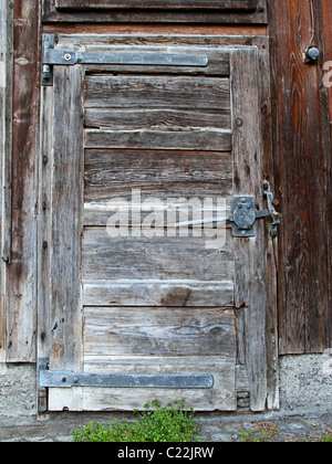 old wooden withered shed door with weeds in front - Stock Photo