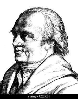 Digital improved image of Friedrich Wilhelm Herschel, 1738 - 1822, astronomer, portrait, historical illustration, - Stock Photo
