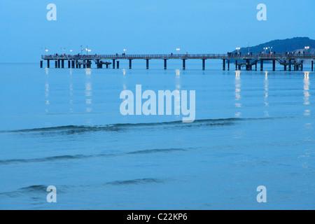 pier at Baltic Sea resort Binz in Germany; Seebrücke in Binz - Stock Photo