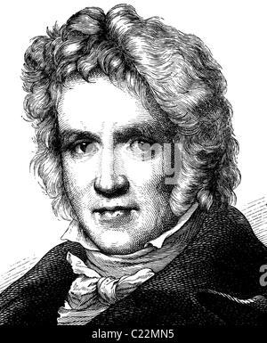 Digital improved image of Friedrich Wilhelm Bessel, 1784 - 1846, astronomer, portrait, historical illustration, - Stock Photo