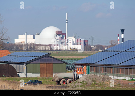 nuclear power station and solar power plant, Brokdorf, Schleswig-Holstein, Germany - Stock Photo