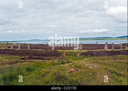 Ring of Brodgar Standing Stones on mainland Orkney in Scotland - Stock Photo