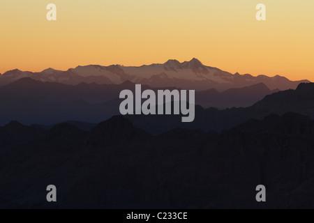 Grossglockner (Austria) seen from Marmolada Summit:Italy:Dolomites - Stock Photo