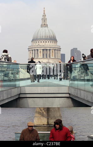 St Paul's Cathedral and the Millennium Bridge, as seen from Bankside, London, England, UK - Stock Photo