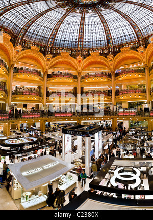 Art nouveau interior of the Department Store Galeries Lafayette Paris France. Studio Lupica - Stock Photo