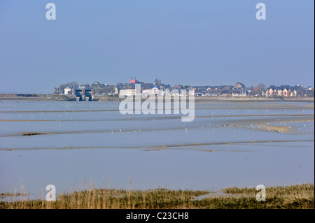 Bay of the Somme and view over the village Le Crotoy, Picardy, France - Stock Photo