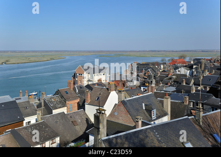 View over the town Saint-Valery-sur-Somme, Bay of the Somme, Picardy, France - Stock Photo