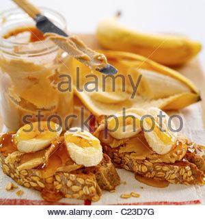Banana On Toast - Stock Photo