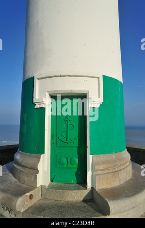 Lighthouse in the Le Tréport harbour, Normandy, France - Stock Photo