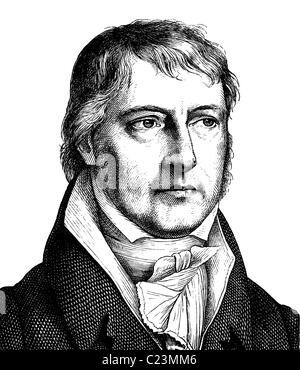 Digital improved image of Georg Wilhelm Friedrich Hegel, 1770 - 1831, German philosopher, portrait, historical illustration - Stock Photo