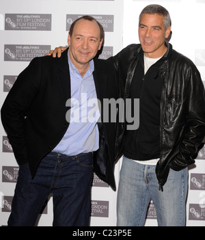 George Clooney and Kevin Spacey The Times BFI London Film Festival: Men Who Stare At Goats - gala screening held - Stock Photo