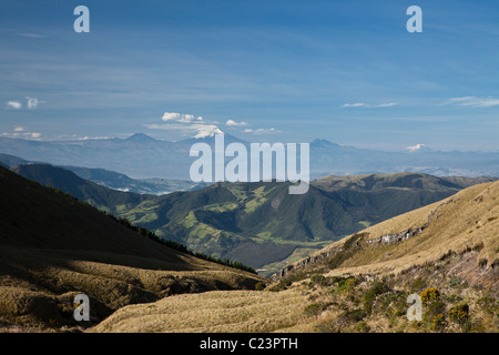 View of Cotopaxi Volcano from Cotacachi Volcano, Imbarura Province, Otavalo, Ecuador - Stock Photo