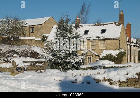 Snow in Stonesfield, Oxfordshire, England - Stock Photo