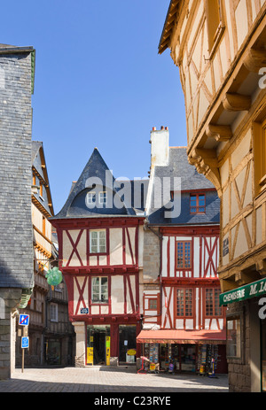 Vannes, France - Place Henri IV square in the city with old medieval buildings, Vannes, Morbihan, Brittany, France, - Stock Photo