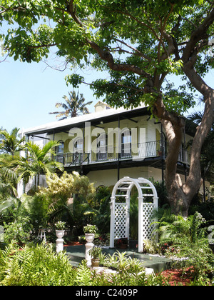 The Hemingway house in Key West, Florida. - Stock Photo