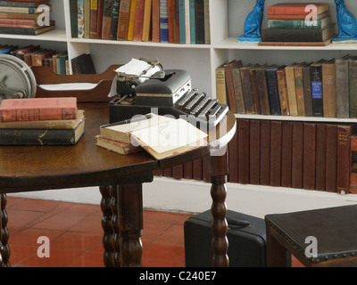 Ernest Hemingway's private den and writing room. His typewriter sits in this retreat at Hemingway house in Key West, - Stock Photo