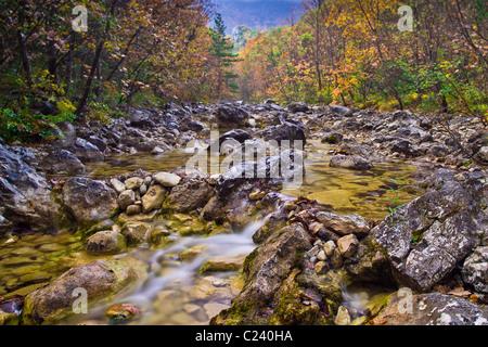 Velika Paklenica creek, Autumn in Starigrad Paklenica National Park, Croatia - Stock Photo