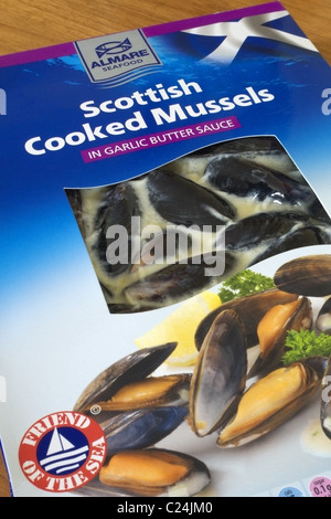Packet of Fresh Cooked Mussels in Garlic Butter Sauce - Stock Photo