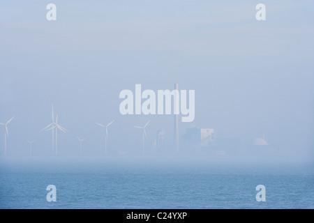 Borssele Nuclear Power Station, Plant, shore of the Westerschelde, Western Scheldt, estuary. Netherlands Holland - Stock Photo