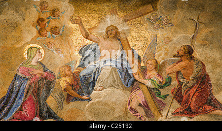 Venice - mosaic of Jesus Christ in heaven from main portal of st. Mark cathedral - Stock Photo