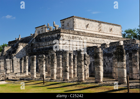 Temple of the Warriors at Chichen Itza, Yucatan, Mexico - Stock Photo